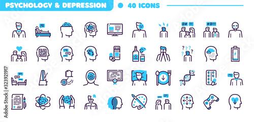 Fototapeta Depression symptoms blue linear vector icons set obraz