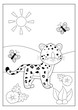 Coloring page or book for kids. Cute cartoon leopard with butterfly. Safari tropical animals. Vector character. Educational game.
