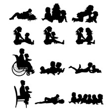 Vector Silhouette Of Collection Of Child Play Together On White Background. Symbol Of Family And Friendship.