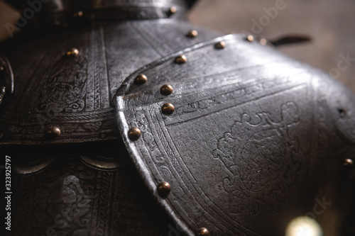 Canvas Print Close up detail Background with armour of the medieval knight
