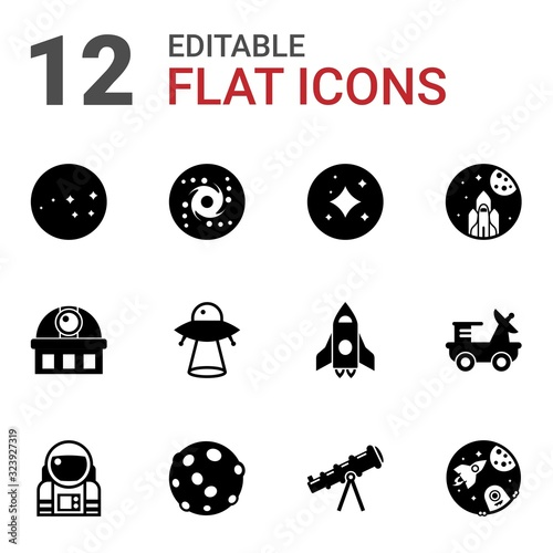 12 cosmos filled icons set isolated on white background. Icons set with constellation, galaxy, stars, observatory, ufo, space exploration, astronaut, moon, telescope, space icons.