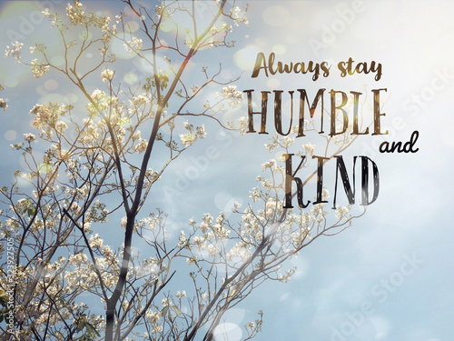 Always stay humble and kind word and white blossom flower tree bokeh background Canvas Print