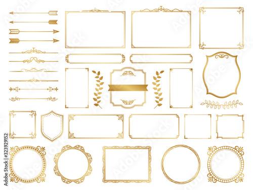 Fototapeta 飾り罫 フレーム ゴールド セット obraz