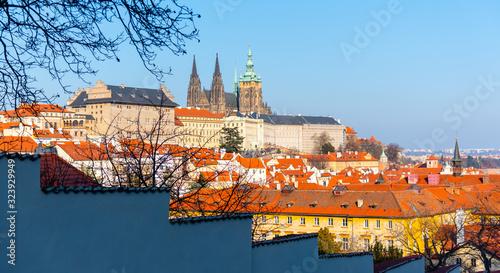 Fotografie, Obraz Prague Castle, Czech: Prazsky hrad, with St Vitus Cathedral, Hradcany, Prague, Czech Republic