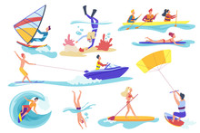 Flat Cartoon Different Female Male Involved In Water Sports Activities Isolated On White Background. Happy People Swimming Diving Underwater, Riding Banana, Kite Surfing Kayaking, Vector Illustration.