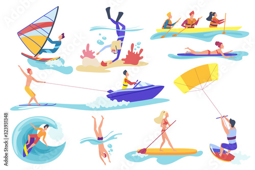 Photo Flat cartoon different female male involved in water sports activities isolated on white background