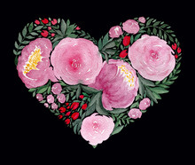 Watercolor Love Heart, Mother'...