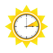 Summer Time Clock Daylight Saving Time Sun Vector Illustration EPS10