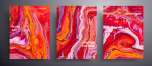 Abstract Vector Placard, Texture Set Of Fluid Art Covers. Trendy Background That Can Be Used For Design Cover, Invitation, Flyer And Etc. Red, Orange, Pink And White Unusual Creative Surface Template