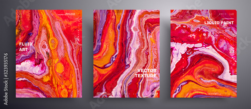 Foto Abstract vector placard, texture set of fluid art covers