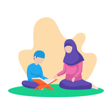 Muslim Mother Teach Her Son Reading Quran The Holy Book Of Islam Vector Flat Illustration At Nature Background With Floral Leaf. Ramadan Activity Poster Design.