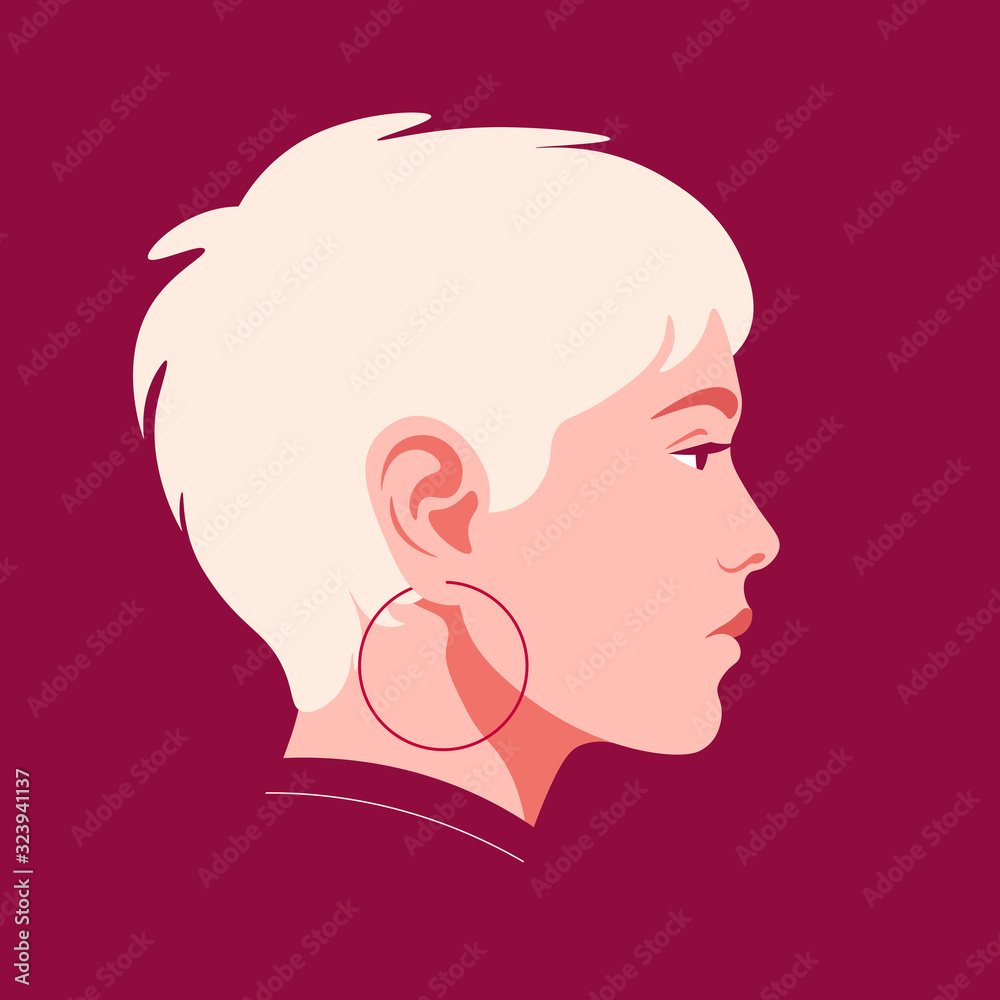 Fototapeta The head of a European girl in profile. Portrait of a blonde woman with short haircut. Social Media Avatar. Vector Flat Illustration