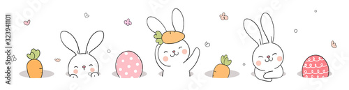 Fotografía Draw banner rabbit and egg in hole For Easter day.