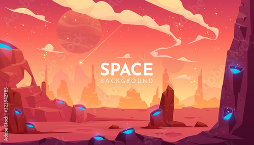 Photo Space background, empty alien fantasy landscape
