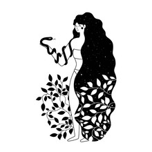 Vector Illustration With Long Black Hair Woman, Plants And Snake. Grunge Dot And Stars.