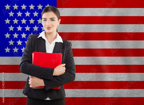 Photo Young Woman with red notebook. Education or business concept