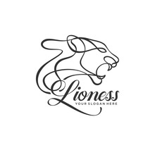 Lioness Lineart Logo Template Vector Illustration