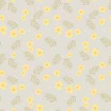 Cute Tiny Yellow Flower Seamle...