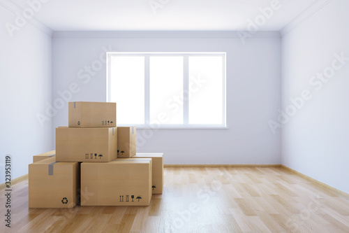 moving boxes at a new home Wallpaper Mural