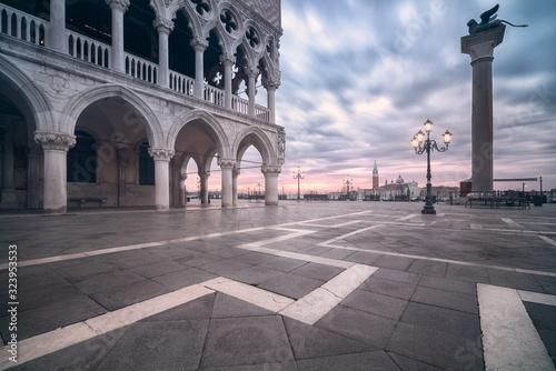 Fototapeta View of sunrise in piazza san marco, venice italy obraz