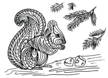 Illustration Of A Squirrel Wit...