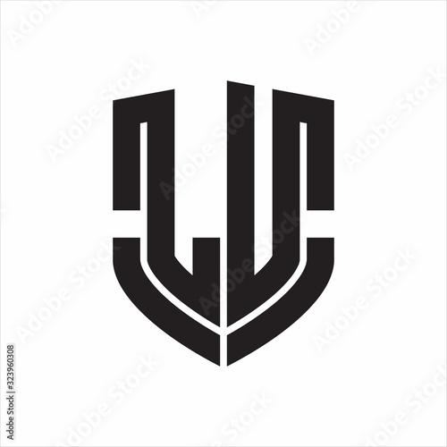 LU Logo monogram with emblem shield shape design isolated on white background Fototapete