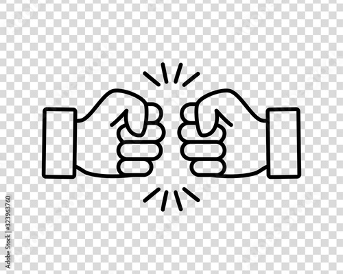 Bro fist bump or power five pound flat vector icon for apps and websites on a tr Fotobehang