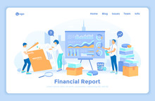 Financial Report. Accounting, Analysis, Audit, Statement, Results. The Auditor Checks The Documents Of The Company. Financial Reporting Team Prepares The Annual Financial Statements. Landing Web Page