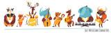 Fototapeta Fototapety na ścianę do pokoju dziecięcego - Jazz music cartoon characters with animals playing music instruments