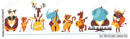 Jazz music cartoon characters with animals playing music instruments