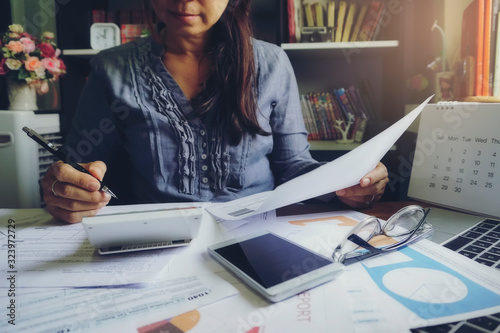 Budget planning concept, Accountant is calculate  tax Canvas Print