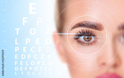 Beautiful female eye in scanning circle closeup and eyechart. Canvas Print