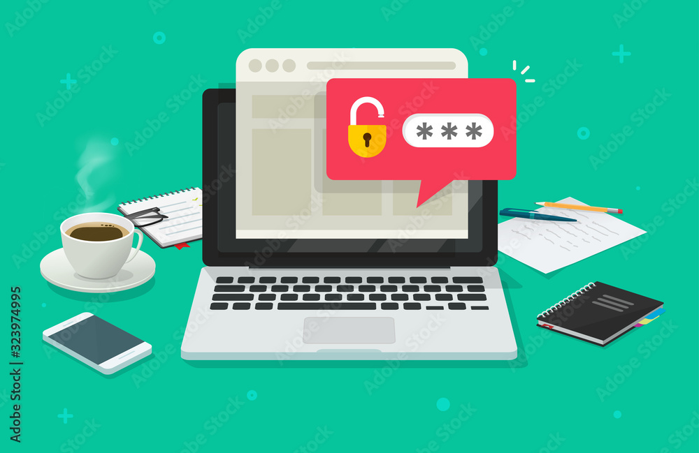 Fototapeta Laptop computer with password notification and lock icon vector flat cartoon, concept of online security, personal access, user authorization, login form icon, internet protection or privacy image