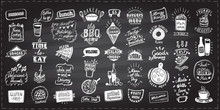 Menu Set With Symbols, Signs And Elements On A Chalkboard, Vector Hand Drawn Graphic Designs