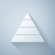Paper Cut Business Pyramid Chart Infographics Icon Isolated On Grey Background. Pyramidal Stages Graph Elements. Paper Art Style. Vector Illustration