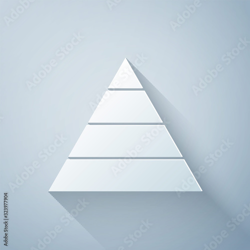 Fotografie, Obraz Paper cut Business pyramid chart infographics icon isolated on grey background