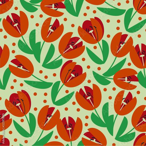 Obraz na plátně Classic traditional red tulip seamless pattern