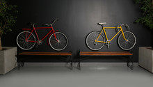 Color Bicycles Hanging On Black Wall Indoors