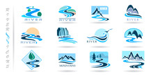 Commercial Icons Of Rivers And Mountains