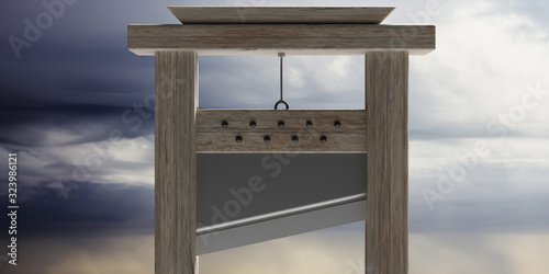 Guillotine against cloudy sky background. 3d illustration Wallpaper Mural