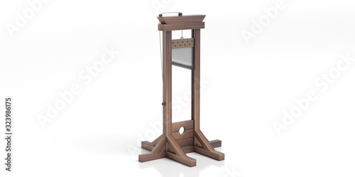 Guillotine isolated against white background. 3d illustration Canvas-taulu