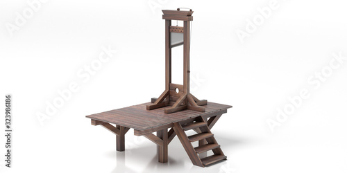 Photo Guillotine isolated against white background. 3d illustration