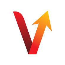 Red Color Letter V Check Arrow Logo Design