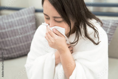 Fototapeta Health and illness, Asian woman has runny and common cold.