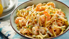 Bowl Of Fresh Scampi With Italian Noodles
