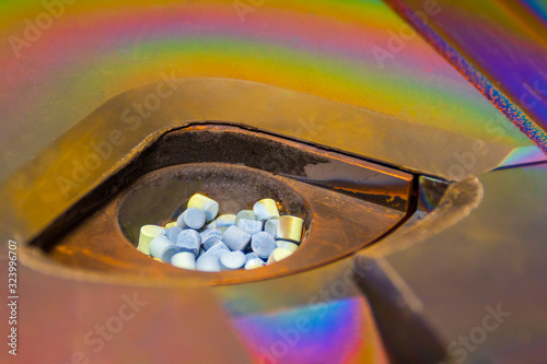 Grey color granules in a crucible for deposition films , vacuum vapor deposition Wallpaper Mural