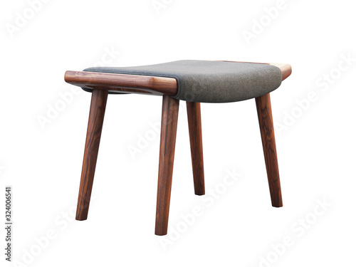 Fotografia Mid-century gray fabric ottoman with wooden legs. 3d render.