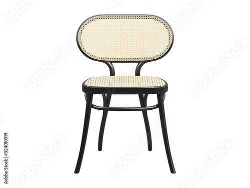Mid-century bent beech-wood chair with woven cane backrest and seat Canvas Print