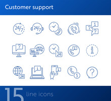 Customer Support Line Icon Set. Telephone, Computer, Speech Bubble With Question Mark, Call Center Operator Headset. Online Support Concept. Can Be Used For Topics Like Help, Service, Contact Center