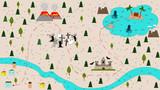 Children's cartoon treasure map in flat vector style. illustration